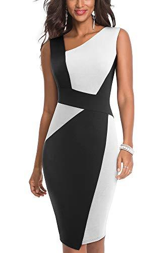 HOMEYEE Robe de soirée sans Manches Vintage à Manches Longues de Couleur contrastée pour Femme B517 (EU 36 = Size S, Blanc + Noir)