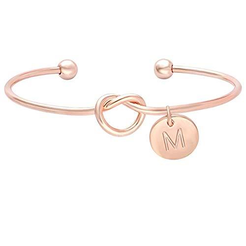 BONNIO Bridesmaids Gift Tie der Knoten Einzelne Anfangsbuchstaben Personalisierte Reize Armband Mädchen Schmuck Size #M - Stilvolle Mutter Der Braut