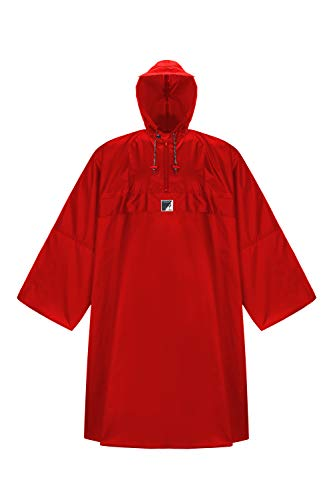 HOCK Regenponcho \'Wetter AS Klima\' mit Langen Ärmeln - Der Atmungsaktive Outdoor Poncho für Damen und Herren - Regencape mit weitem Schnitt für\'s Wandern mit Rucksack - Rot - M