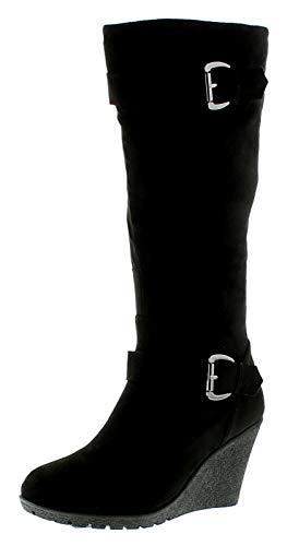 Platino Damen/Damen Schwarz Langes Bein Stiefel Mit 8.5Cm Keilabsatz - Schwarz - UK GRÖßEN 3-9 - Schwarz, EU 38