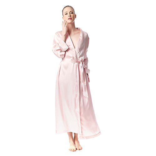 Jasmine Silk Qualitäts Seide Damen Nachtwäsche Bademäntel Nachthemd Morgenmantel Kimono Schlafanzug Schlafenkleid (Rosa) (Seide Nachthemd Rosa)