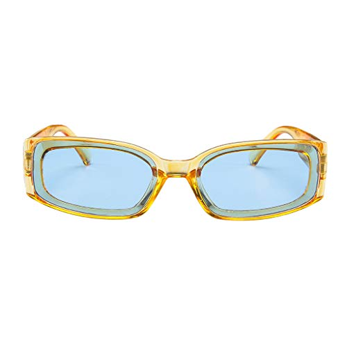 fazry Herren Damen Einfach Mode Jahrgang Quadrat Gespiegelt Polarisiert Brille Brillen Sonnenbrille(Gelb)