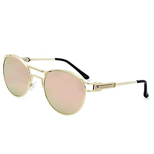 AMZTM Retro Runde Steampunk Brille Vintage Polarisiert Pilotenbrille für Damen Doppelbrücke...