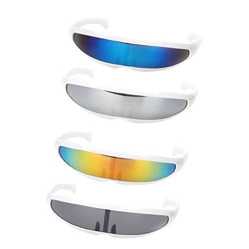 P Prettyia 4 Stück Futuristische Sonnenbrille Verspiegelte Brille Visor Party Brille für Fasching Karneval Party