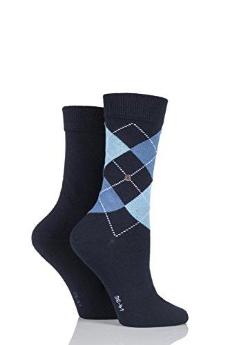 Damen 2 Paar Burlington Baumwolle und einfarbige Socken LIMITED EDITION Navy 2,5-6,5 Damen