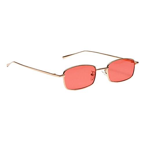 MagiDeal Damen Herren Sonnenbrille Rechteck Kleine Sonnenbrillen polarisierten Brille Metall gestell UV-Schutz Gläser Linse für Party Freizeit - rot