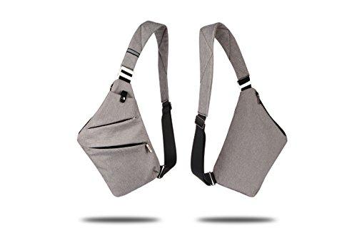 RichDeer Sling Brust Rucksack, Ultra leichte kleine Crossbody Tasche Geldbörse Geldbörse für Reise-Gym Wandern Mini Schulter Messenger Bag Daypacks für 7,9 Zoll Mini iPad Tablet Grau