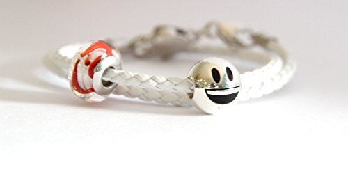 Bracciale componibile in pelle intrecciata con beads smily e beads di murano