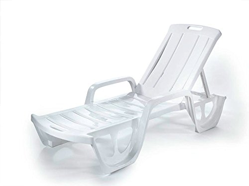 Keter - Tumbona de jardín exterior reclinable Florida, Color blanco