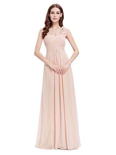 Ever-Pretty Vestito da Damigella Donna Una Spalla Chiffon Linea ad A Stile Impero Lungo Arrossire 36