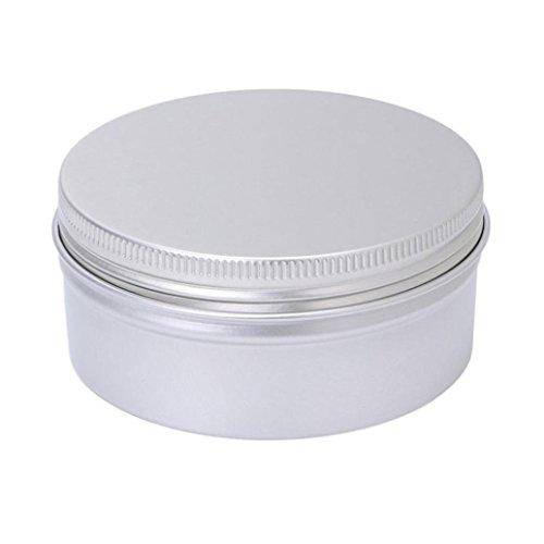 Hunpta Bouteille Aluminium Cosmétique vide Pot de 180 ml Boîte à nourriture Argent Boîte à vis Couvercle Craft