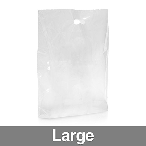 Confezione di 500] trasparente Sacchetti di plastica con maniglia Grande Clear