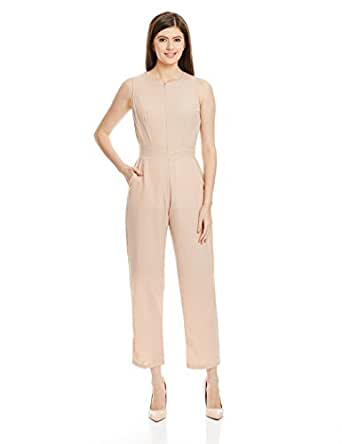 Miss Chase Women's Crepe Straight Jumpsuit (MCSS16D01-95_Beige_X-Small)