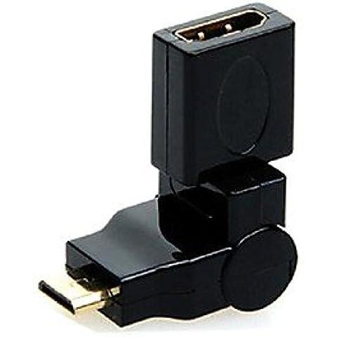 360 gradi di rotazione angolo di 90 mini HDMI maschio a hdmi convertitore femminile