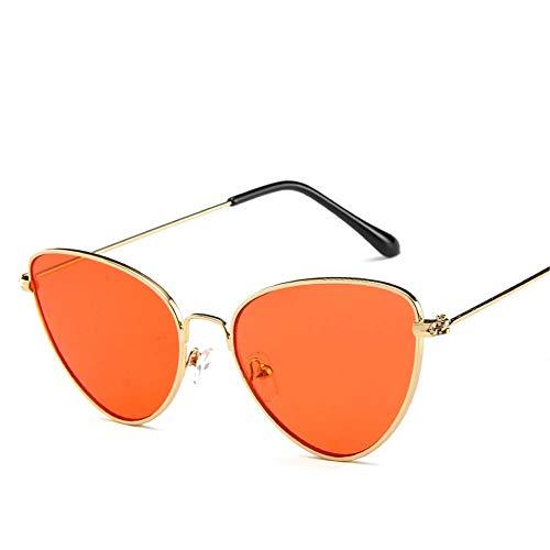 WYJW Vintage Cat Eye Sonnenbrille Frauen Clout Brille Metall dreieckigen Kreis Rahmen einzigartiges Design Plain und Gelee Farbe Sonnenbrille -