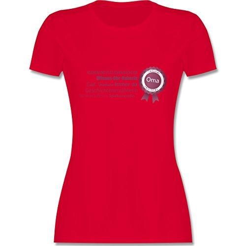 Oma - beste Oma - tailliertes Premium T-Shirt mit Rundhalsausschnitt für Damen Rot