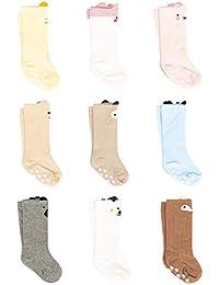 Adorel Pack de 9 pares de Calcetines hasta la rodilla Antideslizantes para Bebés Niños ...