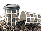 50 x Disposable Paper Coffee Cups and Lids. 8 oz, 12 0z, or 16 0z. (12 oz)