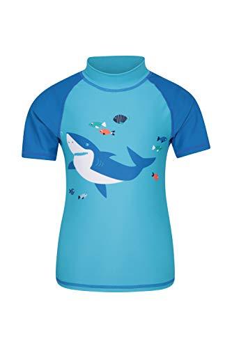 Mountain Warehouse T-Shirt imprimé Anti-UV pour Enfants - Protection Solaire UPF50+, Coutures Plates, séchage Rapide - À Porter sous Une Combinaison de plongée Bleu Clair 9-10 Ans