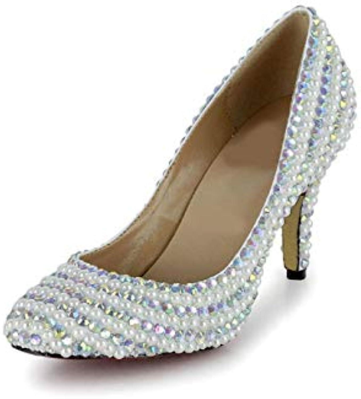 Moontang Nuptiale Couleur de la tête Perle DiaFemmet Rond tête la de Mariage Chaussures de Mode Banquet Bas Talon Chaussures...B07JW5JY7CParent 94d08b