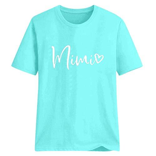 Chiffon Frill Sleeve Top (TMOTYE Damen T-Shirt Kurzarm Sommerhemd Lose Fashion Brief Mimi Druckoberteil, DüNn Geschnitten, Atmungsaktiv)