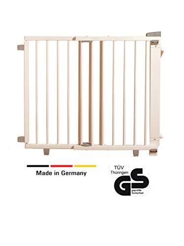 Geuther - Treppenschutzgitter ausziehbar 2735+, für Kinder/Hunde, Schrauben/Klemmen am Geländer, verstellbar, Holz, weiß, 95 - 135 cm, TÜV geprüft -