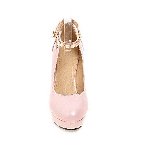 VogueZone009 Damen Rund Schließen Zehe Weiches Material Eingelegt Schnalle Pumps Schuhe Pink