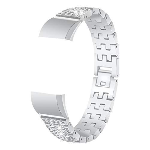 Smart Watch mit Perlen Diamantarmband Edelstahl Armband Armband Ersatz für Fitbit Charge 2 Smart Watch Strap Wuqy
