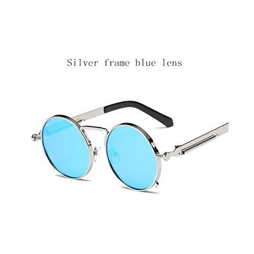 Sportbrillen, Angeln Golfbrille,NEW Fashion European American Trend Retro Circle Punk Men Women HD Sunglasses Italy Designers Desig Non-Mainstream Glasses Silver frame - Blue