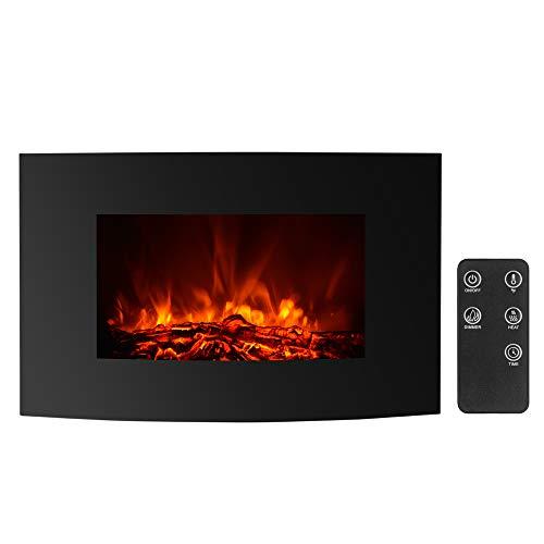 IKAYAA Cheminée électrique Murale Télécommande Programmable avec Thermostat et Timer Silencieux - 88 * 56 * 15cm - 900/1800W