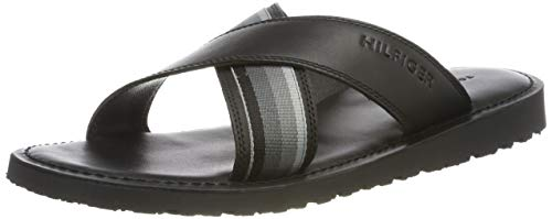 Tommy Hilfiger Herren Criss Cross Leather Sandal Zehentrenner, Schwarz (Black 990), 46 EU - Cross-pool