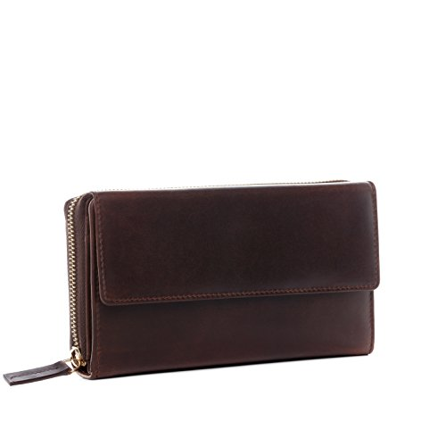 BACCINI® Portafoglio vera pelle vintage LIA grande pochette borsellino portamonete donna cuoio marrone