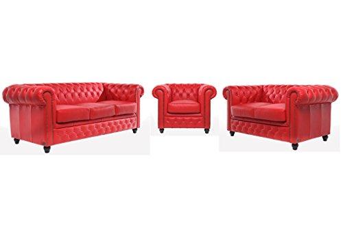 Original Chesterfield Sofas und Sessel – 1/2 / 3 Sitzer – Vollständig Handgewaschenes Leder – Rot