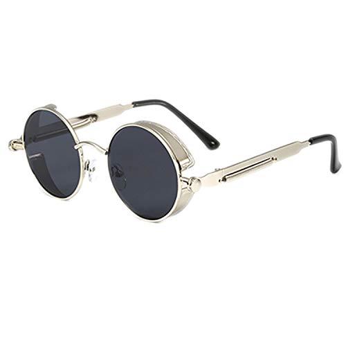 smile-coco Steampunk Brille Herren Damen Vintage Runde Sonnenbrille für Retro Uv400 weiblich männlich Gr. Einheitsgröße, Q-c8
