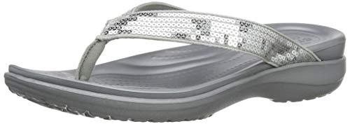 Bild von crocs Damen Capri V Sequin Flip Zehentrenner, Silber (Silver)