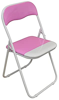 Harbour Housewares Pink / White Padded, Folding, Desk Chair - inexpensive UK light shop.