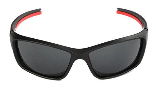 JJH-ENTER Anti UV400 occhiali da sole polarizzati a cavallo degli occhi , ci black framed red legs