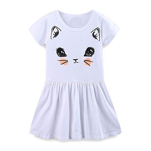 squarex Sommer Kleinkind Kinder Baby Mädchen Kurzarm Rock Katzenohren Cartoon Print Kleid Outfits Freizeitkleid Komfortabel (Junioren Khaki)