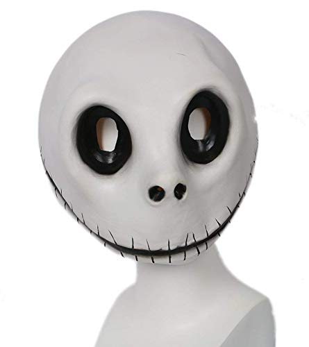 DealTrade Jack Skellington Maske Halloween Karneval Cosplay Kostüm Erwachsene Scary Weiß Latex Vollkopf Helm Fancy Dress Merchandise Zubehör (Jack Skellington Kostüm Kinder)