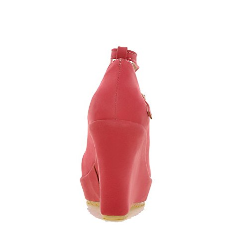 VogueZone009 Donna Puro Pelle Di Mucca Tacco Alto Punta Chiusa Punta Tonda Fibbia Ballerine Rosso