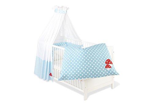 Pinolino 60969-2 - Set für Kinderbett, 4-tlg, Glückspilz' hellblau (Euro Bettbezug)