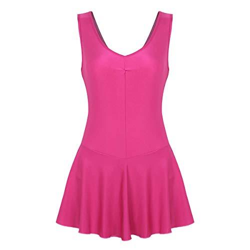 Kostüm Tutu Teller - Tiaobug Damen ärmellos Kleider Ballettkleid Ballettanzug Tank Top Trikot Body Tanzkleid Mini Strech Skaterrock Gymnastikanzug gr. S M L XL Pink XL