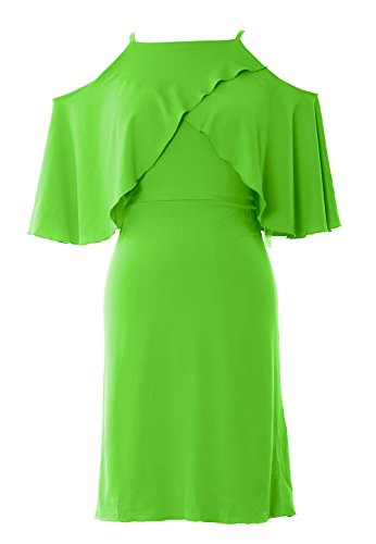 MACloth Women Off Shoulder Short Wedding Bridesmaid Dress Cocktail Party Gown Light Green