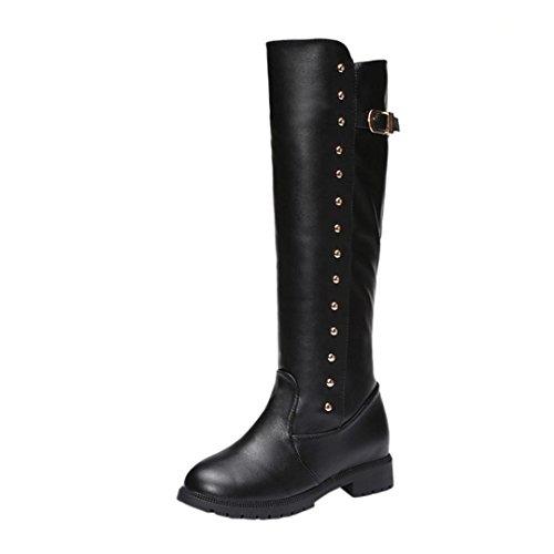 Botas de mujer Botas de tobillo de mujer Zapatos planos de mujer Alto Cremallera Felpa Suave Tacones cuadrados Casual Martín Botas LMMVP (40, Negro)