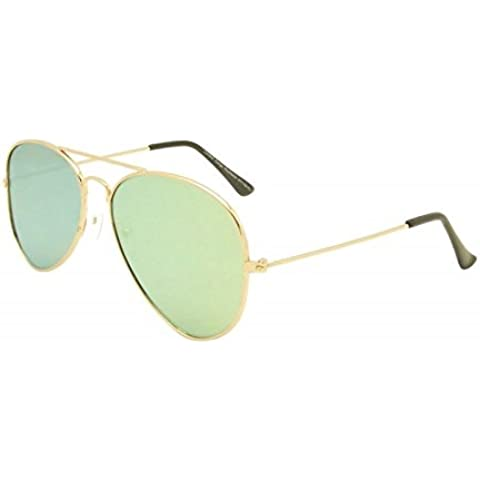 Verde Unisex obiettivo piatto stile Aviator Occhiali da sole Anni 80Moda metallo Farme Oro Bordo