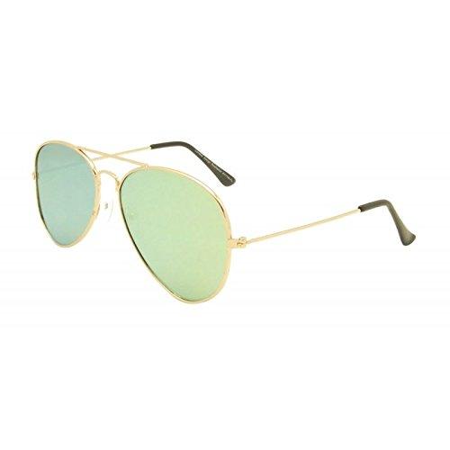 Grün Unisex flach Objektiv Aviator Stil Sonnenbrille 80er Fashion Metall Farme Gold Rand