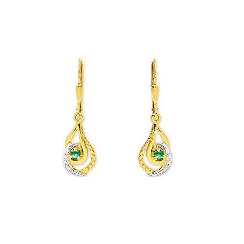Tous mes bijoux Mujer 9 k (375) Oro bicolor esmeralda FINEEARRING