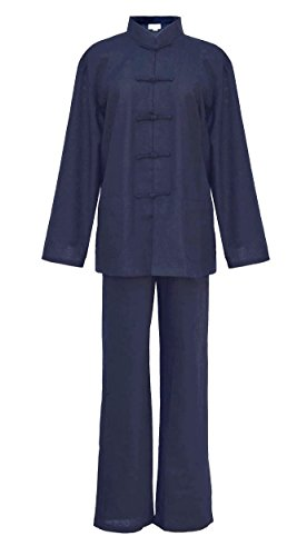 Damen Blaumwolle Tai chi, Qi Gong, kung fu Anzug Blau M