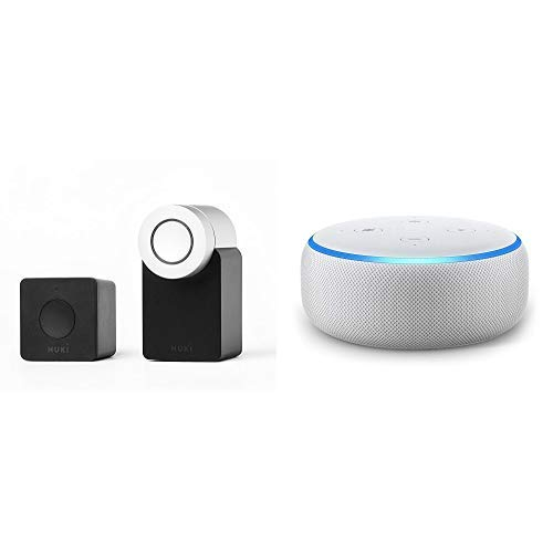 Echo Dot tessuto grigio chiaro + Nuki Combo (Smart Lock e Bridge) - serratura Bluetooth elettronica - apriporta automa-tico con Wi-Fi - per iPhone e Android – Smart Home - IFTTT