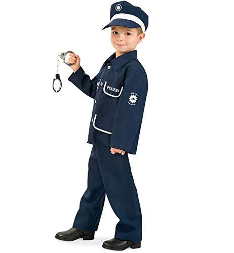 (KarnevalsTeufel Kinderkostüm Polizist Petersen 2-TLG. mit Mütze Polizei-Uniform dunkelblau, Fasching, Karneval, Mottoparty (128))